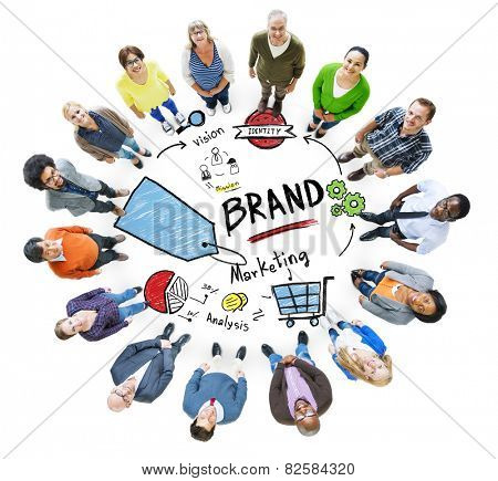 Diverse People Aerial View Marketing Brand Concept poster