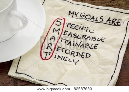 my goals are smart - goal setting concept - handwritten text on a napkin with coffee poster
