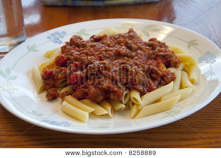 Penne Noodles With Meat Sauce