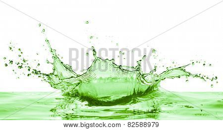 green liquid splash on white background poster