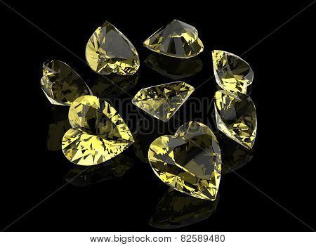 Background with set of many different gemstone poster