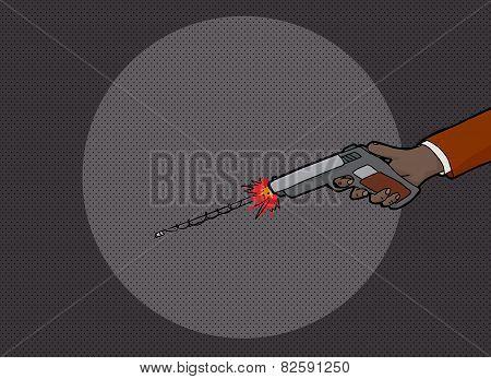Hand Firing Gun In Dark