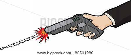 Isolated Drawing Of Gun Firing