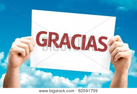 Thank You (in Spanish) card with sky background