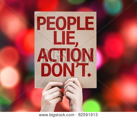People Lie, Action Don't card with bokeh background poster