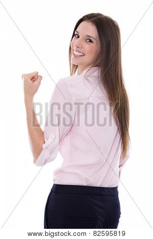 Power and Success: Isolated happy and young business woman over white background.