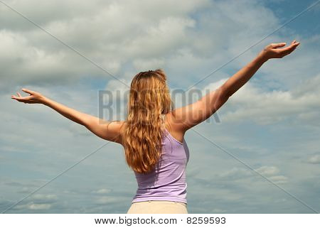 Freedom. Girl And Sky