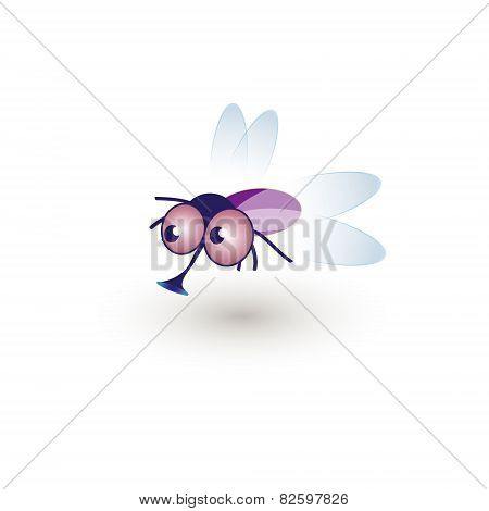 Comic Funny Housefly. Illustration Of A Cartoon Funny Fly Buzzing In The Air
