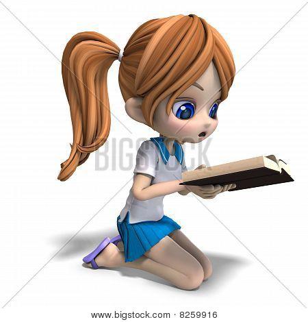 cute little cartoon school girl reads a