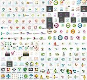 Logo mega collection, abstract geometric business icon set poster
