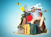Travel and tourism, the guy on the bags and suitcases poster
