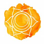 Swadhisthana chakra. Watercolor vector illustration isolated on white poster