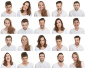 set of different male and female faces, facial expressions poster