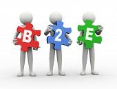 3d rendering of people holding puzzle pieces of b2e - business to employee. 3d white people man character. poster