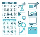200 office, document, multimedia, media, network, internet, website isolated design flat icons, signs, illustrations vector set on background poster