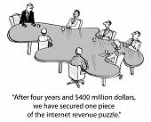 Cartoon of business staff meeting at a table that looks like a puzzle piece, leader says, After four years and $400 million dollars we have secured one piece of the internet revenue puzzle. poster