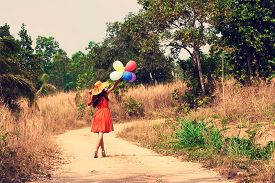 The Young Woman With Balloons. Vintage Style