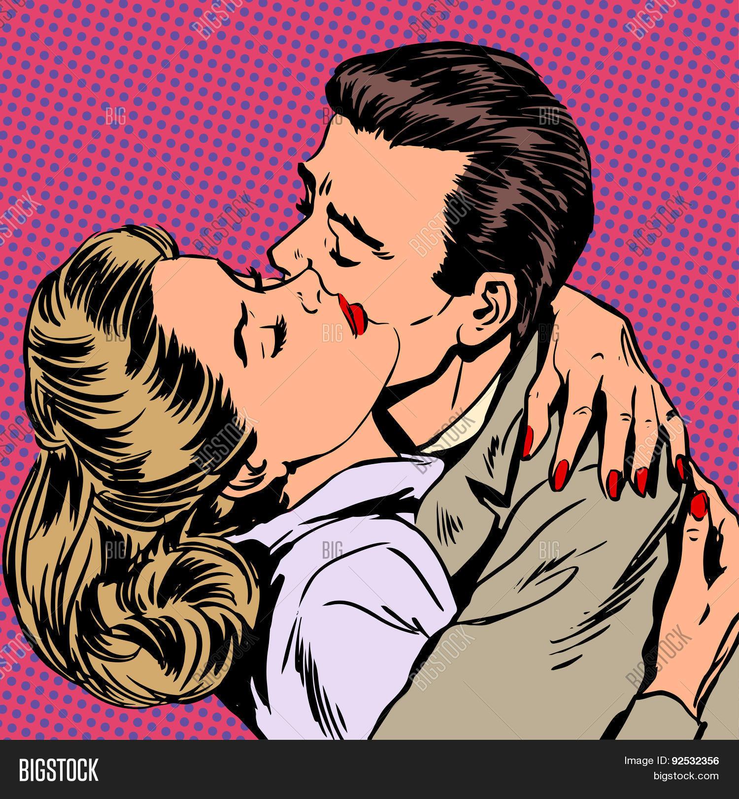 Passion man woman embrace love relationship Halftone style pop art retro  vintage