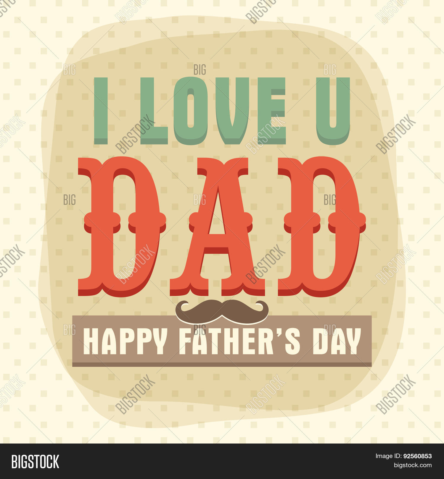 Vintage greeting card vector photo free trial bigstock vintage greeting card design decorated with 3d text i love u dad and mustache for happy m4hsunfo