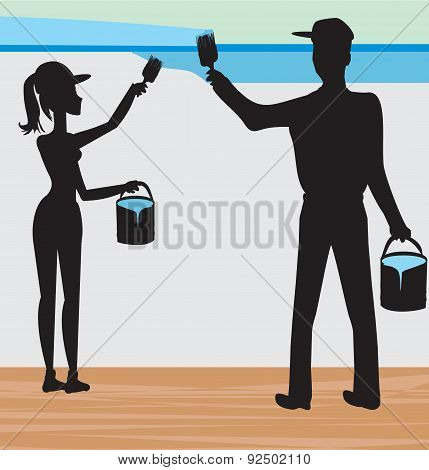 Silhouettes Of Two People Painting A Wall