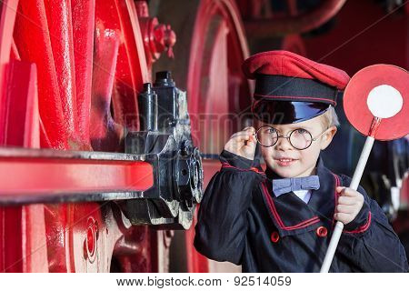Smiling Train Conductor Boy
