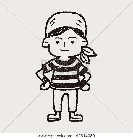Pirate Sailor Doodle, illustration vector eps , Children's crayon drawing stylen. poster