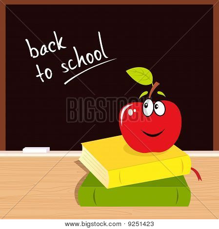 Back to school: apple, books and black board