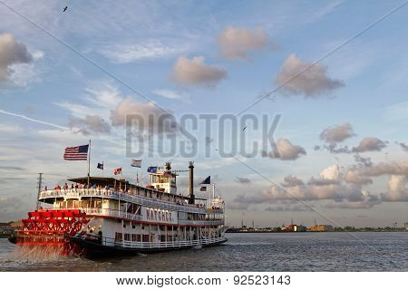 Steamboat Leaves The Port Of New Orleans