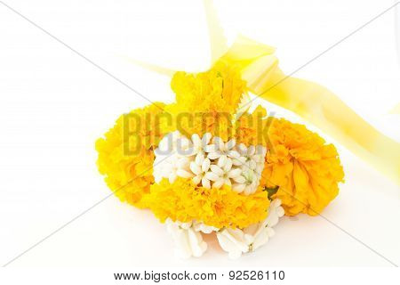 Marigold flowers garland for paying homage to place of worship ** Note: Soft Focus, best at smaller sizes poster