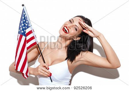 Sexy Woman Salute With Usa Flag