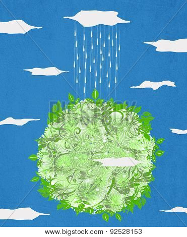 Green Planet  And Rain Digital Illustration