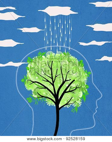Head Silhouette With Tree And Rain Tree
