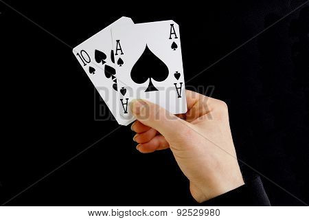 Hand Holding Best Classic Blackjack Combination Ten And Ace Of Spades