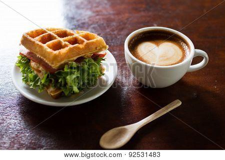 Waffles, Bacon Filling