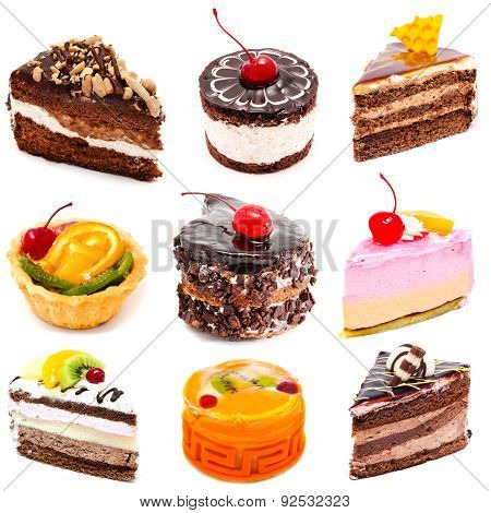 Collection Of Photos Delicious Cakes Isolated
