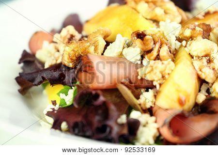 Close Up Of Peach, Gorgonzola And Pastrami Salad