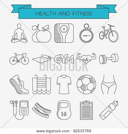 Health And Fitness Line Icons Set