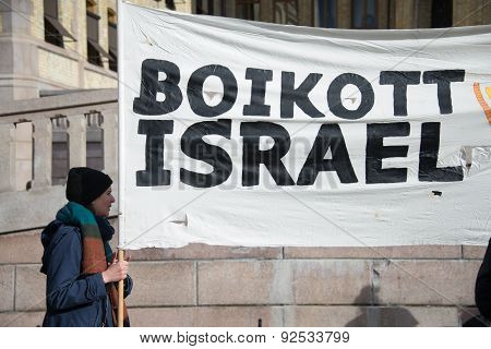 'Boycott Israel' banner at protest
