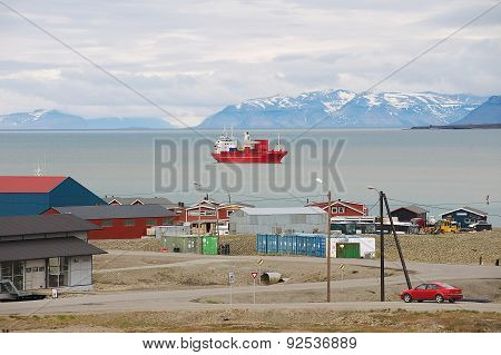 View to the harbor of Longyearbyen, Norway.