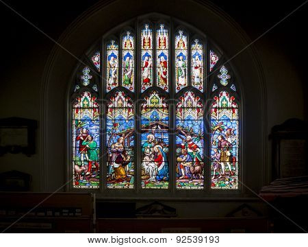 Stained Glass Church Window  Nativity Scene