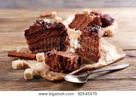 Tasty chocolate cake on table, close-up