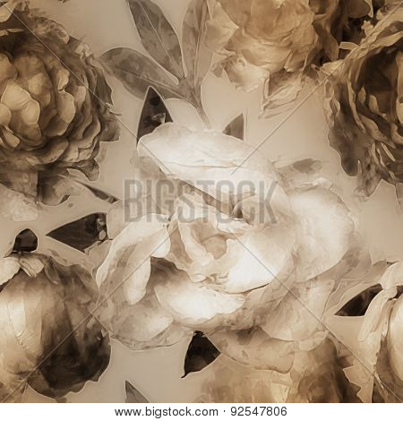 art vintage monochrome watercolor blurred floral seamless pattern  with white and gold peonies on beige background