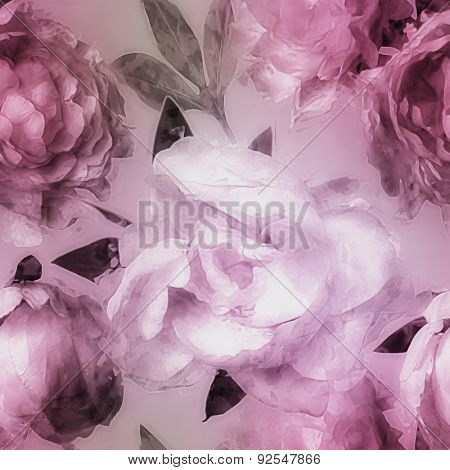 art vintage monochrome watercolor blurred floral seamless pattern  with pink and lilac peonies on light lilac background