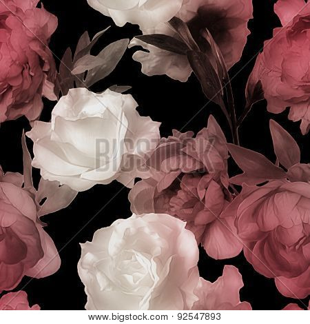 art vintage watercolor blurred floral seamless pattern with white roses and red peonies isolated on black background