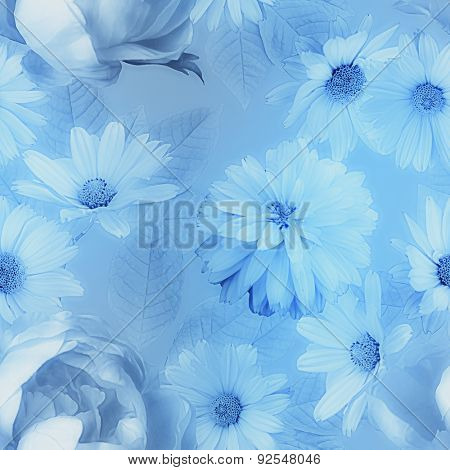 art vintage monochrome graphic and watercolor blurred floral seamless pattern with blue peonies and asters on blue background