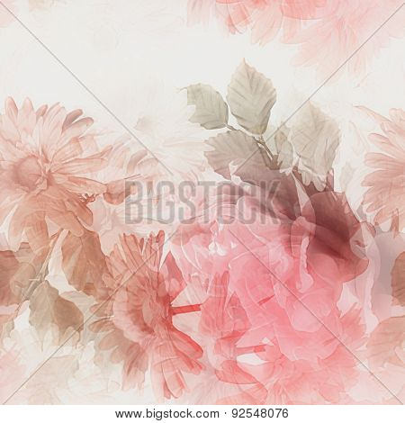 art monochrome watercolor blurred vintage floral seamless pattern with white and red gerberas and roses isolated on white  background