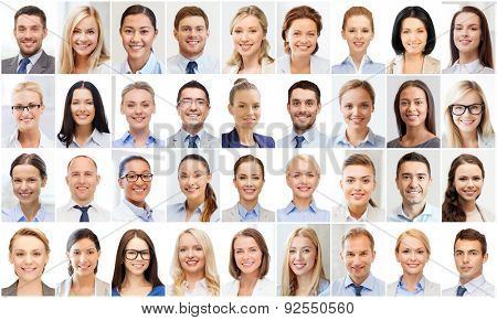 success concept - collage with many business people portraits