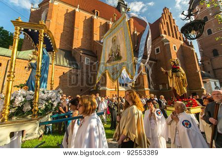 KRAKOW, POLAND - JUN 4, 2015: During the celebration the Feast of Corpus Christi (Body of Christ) also known as Corpus Domini, is a Latin Rite celebrating belief in the body and blood of Jesus Christ.