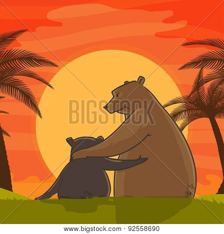 Cute father bear hugging his child on beautiful sun set view background for Happy Father's Day celebration.