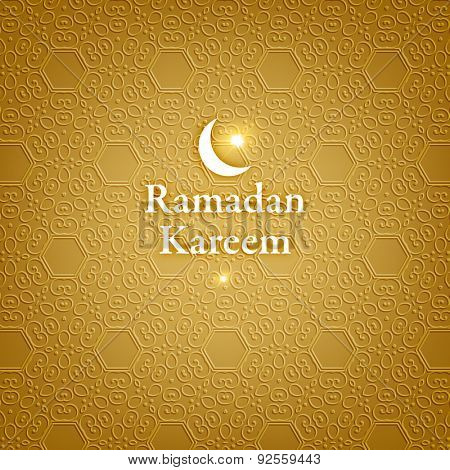 Ramadan Kareem. Ramadan Greeting Card Background. Muslim Seamless Pattern. Holiday Design.